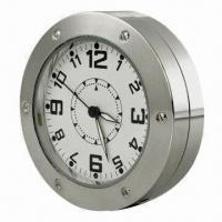 Wholesale Round Table Desk Clock Camera with Motion Detection and Stainless Steel Housing from china suppliers