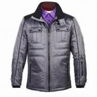 Wholesale Men's Winter Jacket with 2-tone Jacquard Diamond Lattice Fabric, Elasticated Quilting at Side from china suppliers