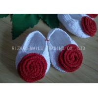 Wholesale Red Rose Free Crochet Baby Shoes Comfortable White Body 100% Milk Cotton from china suppliers