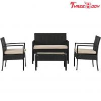 China Wicker Outdoor Garden Furniture Rattan Patio Table And Chairs With Cushions on sale