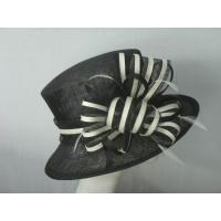 Wholesale Normal day Contrast Sinamay Ladies Fashion Hats Stripe Sinamay Bow from china suppliers