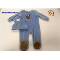 Wholesale Comfortable Infant Boy Pram Suits , Long Sleeve Bear Applique Newborn Boy Coverall from china suppliers