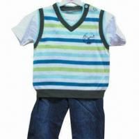China Baby boy mock 2-piece sweater and trousers set on sale