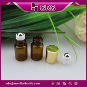China 1ml 2ml cute metal ball glass bottle,100% no leakage mini glass roll on bottle on sale