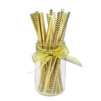Wholesale Recyclable Print Paper Drinking Straws In Bulk Gold Foil Pattern Iso9001 from china suppliers
