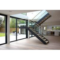 Wholesale Interior wooden straight staircase with glass railing free design from china suppliers