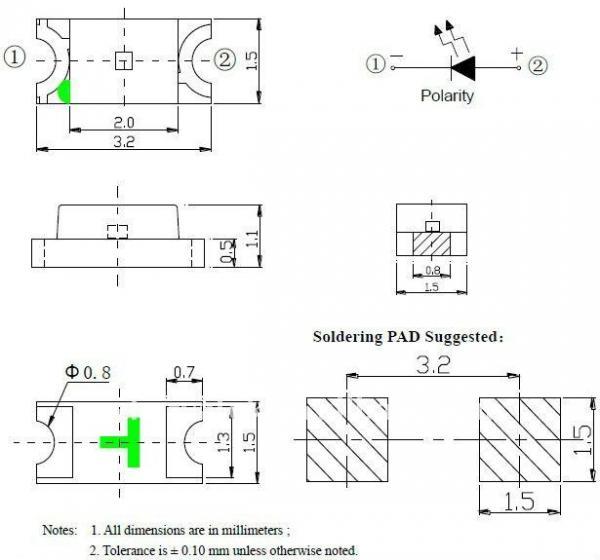 1206 white Surface mount Diode 3.0-3.2V SMD LED 560-720mcd ...