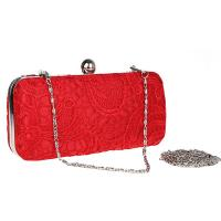 Elegance Red Lace Evening Bag Chain Evening Bag Party Clutch Bag EV1086 Of Item 102443206