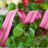 No.5 Long Chain Metal Zippers With Pink Tape For Luggge And Handbag