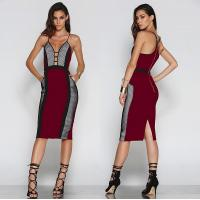 Wholesale Multi Color Draped Bodycon Dress V Neck , Formal Womens Bandage Dresses from china suppliers