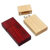 China Red Colored Personalized Engraved Wood  USB Flash Drive ,  Wooden Thumb Drive on sale