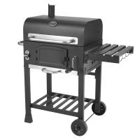 China Classic Commercial Kitchen Equipments Barbeque Backyard Charcoal BBQ Grill Smoker With Trolley on sale