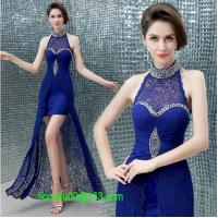 Wholesale Sexy crystal halter lace long evening dress 2014 sapphire slim women formal dresses vestidos de fiesta from china suppliers