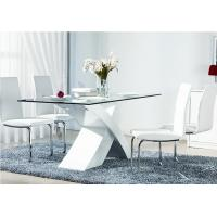 China white MDF X shape base glass top table dining T103-1 on sale