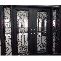 China Flat Top Wrought Iron Double Door With Side lights on sale