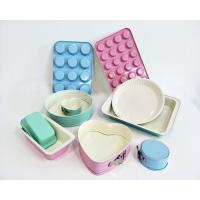 China Light Green Blue Pink Turquoise Non-stick Ceramic Coating Bakeware Set loaf muffin pan in Colorful Ceramic Coating on sale
