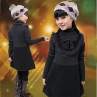 China Uneven Grey Turtleneck Little Girls Winter Dresses With Bow 5 Year Old Girl Clothes on sale