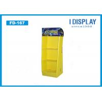 Buy cheap Yellow Paper Floor Display Stands , 3 Tier Cardboard  Corrugated Display Stand from Wholesalers
