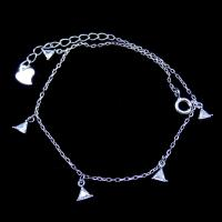 Simple Engagement Charm Bracelet , Triangle Shape 925 Sterling Silver Jewelry