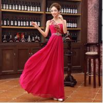 Wholesale Fuchsia/Red Fashion One-shoulder Chiffon Long Women Formal Evening Dress 2014 Free Shipping from china suppliers