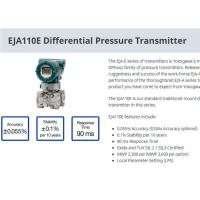 China Industrial EJA110E Differential Pressure Transmitter For Level Measurement on sale
