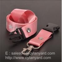 Pink Nylon lanyard for ID badge holder, nylon neck ribbon with detachable buckle