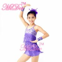 Biketard Confetti Sequin Fringe Dress Kids Purple Latin Dance Costumes