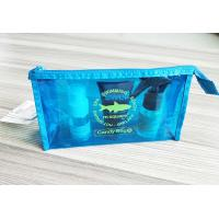 Wholesale Bright Blue Waterproof Zipper PVC Cosmetic Bag , Transparent Vinyl Make Up Pouch from china suppliers