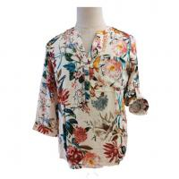 China Women Long Sleeve Stain Printed Tops, Ladies Casual Blouse Bodysuit Shirt on sale