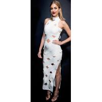 Ladies White Maxi Bandage Dress Sleeveless Rayon Nylon Spandex Material