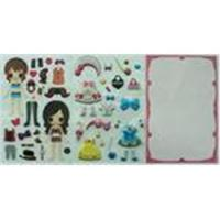 Wholesale 3D Dimensional PVC / PET Little Princess Dress Up Doll Stickers For Note Book from china suppliers