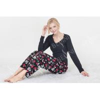 Wholesale Black Women'S Nightgown Sets , Women'S 2 Piece Pajamas Sets  Lace Trimed from china suppliers