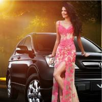 Wholesale Sexy V-neck Beaded Lace Long Prom Dress 2014 Pink See Through Women Model Dress from china suppliers