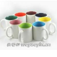 Wholesale Export SGS/ROHS/CE International certification inside colors printting LOGO ceramic coffee mug with handle 7102 mark cup from china suppliers