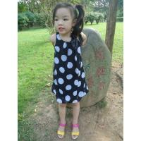 Wholesale Sequences Little Girls Polka Dot Dress , Bow Shoulder Childrens Chiffon Dresses from china suppliers