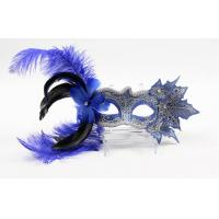 Womens Cute Blue / Red Feather Masquerade Masks For Festival