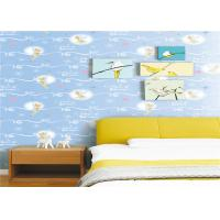 Wholesale White Cartoon Kids Bedroom Wallpaper Light Blue Embossed Vinyl Wallpaper from china suppliers