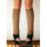 Wholesale 100% Acrylic Knitted Leg Warmer Brown For Spring , Autumn from china suppliers