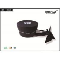 Black Round Cardboard Gift Boxes / Chocolate Gift Boxes With Butterfly Ribbon
