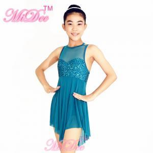 Modern Dance Costumes Sweet Heart Cut Bust Attached With Mesh Neck Tricorn Cut Skirt