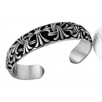 Retro Jewelry Stainless Steel Bangle Bracelets Carved Cruciferous Jewelry Pattern Never Fade