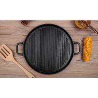 China Thick cast iron uncoated circular griddle commercial barbecue grill outdoor picnic cooker on sale