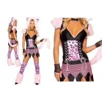 Faux Fur Pink Sexy Girl Halloween Costume  , Naughty Pussycat Fancy Dress Costumes
