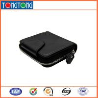 China Small Black Leather Credit Card Holder , Mens Wallets With Coin Purse 10.5cm L X 8.5cm W on sale