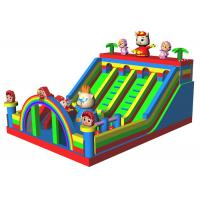 China GG Bond Piggy Cartoon Inflatable Dry Slide 4 Tunnels Dual Lane Slide With Stairs on sale