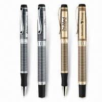 Wholesale Unique Grid Pattern Ballpoint/Rollerball Pens, Heavy Weight Brass Construction, Gel Ink is Available from china suppliers