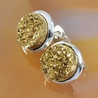 Buy cheap Yellow Druzy Stud Earring , Circle Stud Earrings Faux Druzy Stone Jewelry from Wholesalers