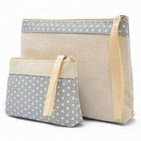 Wholesale Cosmetic Bag Set, Made of Cotton Canvas from china suppliers