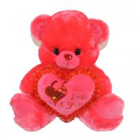 Factory price pink  plush bear / soft plush toys with heart pillow for shopping mall
