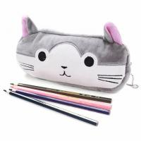 China New creative korean stationery import office and school supplies girls gift cute plush cat cartoon zipper pencil funny on sale
